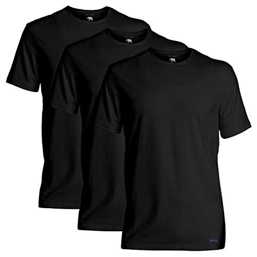 Ted Baker mens Crewneck Stretch Cotton Tshirts, 3 Pack Base Layer Top, Black/Black/Black, Medium US