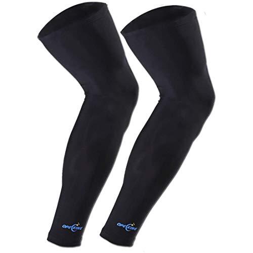 1 Pair Compression Leg Sleeve Non Slip Knee Long Sleeve Leggings for Shin Splints,Running,Medical Care,Travel,Pain Relief for Men and Women (Black, X-Large)