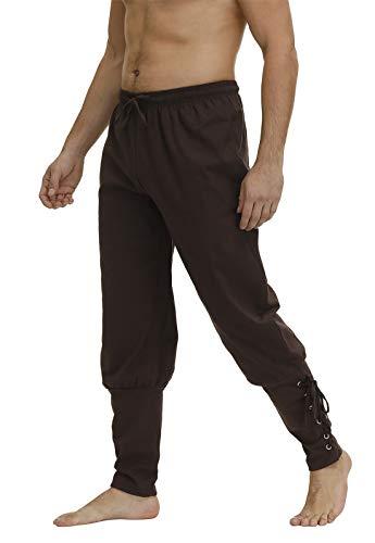 Pantalones de hombre con banda en el tobillo, pantalones de renacimiento medievales, vikingos, pantalones de navegacin, disfraz de pirata para cosplay con cordones - Marrn - Large