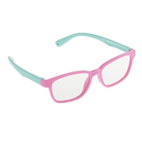 Occhiali da Sole Cornice in Silicone Morbido Design Anti-luce Blu da 3 a 12 Anni 13 X 12 X 3,5 cm - Rosa + verde, 13 X 12 X 3,5 cm
