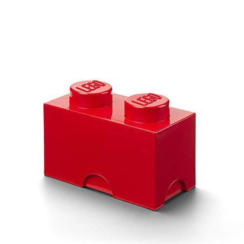 LEGO Aufbewahrungsstein, 2 Noppen, Stapelbare Aufbewahrungsbox, 2,6 l, rot