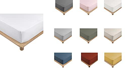 Promo Linge Drap Housse Percale 100% Coton 10 Coloris Différents - 90 X 190cm - 140 X 190cm - 160 X 200cm - 180 X 200cm - Bonnet De 30cm (Blanc, 160x200 cm)