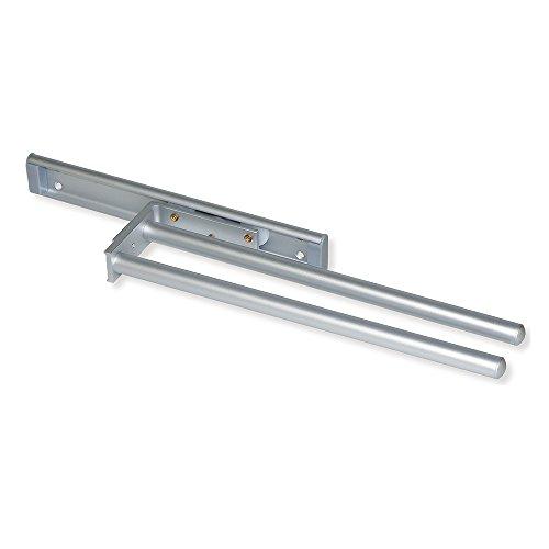 EMUCA - Toallero Extensible 2 Brazos, Colgador de Toallas para baño o Cocina de Aluminio anodizado Mate, 310mm de Largo