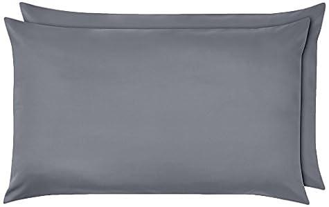 AmazonBasics - Funda de almohada de microfibra, 2 unidades, 50 x 80 cm - Gris oscuro