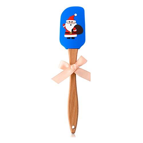 Sidougeri Espátula de Navidad con mango de madera, diseño de Papá Noel