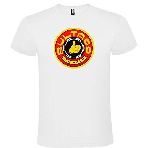 ROLY Camiseta Blanca con Logotipo de Bultaco Hombre 100% Algodón Tallas S M L XL XXL Mangas Cortas (XL)