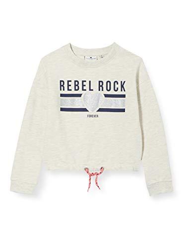 TOM TAILOR Mädchen Sweatshirt T-Shirt, Off White Melange White, 164