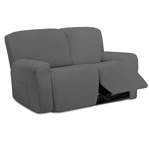 Easy-Going 6 Pieces Microfiber Stretch Sectional Recliner Sofa Slipcover Soft Fitted Fleece 2 Seats Couch Cover Washable Furniture Protector with Elasticity for Kids Pet(Recliner Loveseat, Gray)