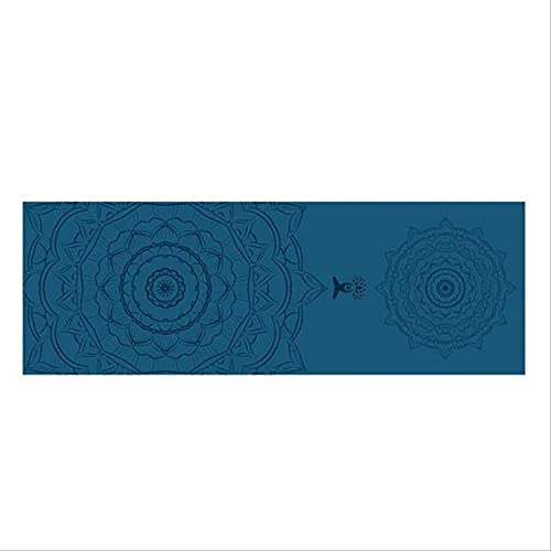 HHBB Esterilla de yoga con línea de posicionamiento impresa de doble capa portátil antideslizante Esterilla Fitness ejercicio Pilates Yoga Mat 185 cm x 63 cm 185 cm × 63 cm verde tibetano loto