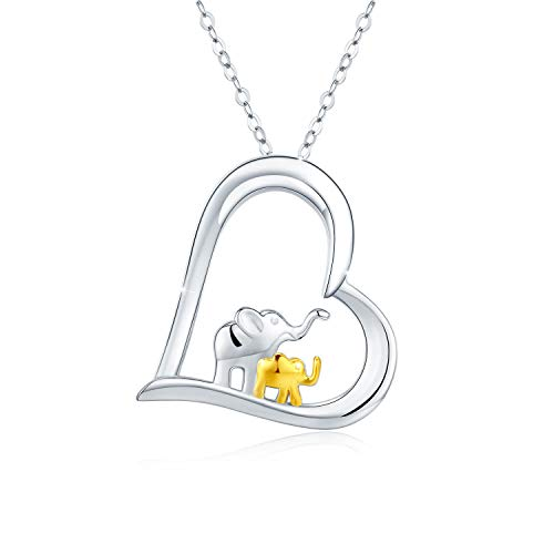 Kette Elefant 925 Sterling Silber Herz Elefanten Halsketten für Frauen Lucky Elefant Muttertag Geschenke for Mama Mädchen Ehefrau
