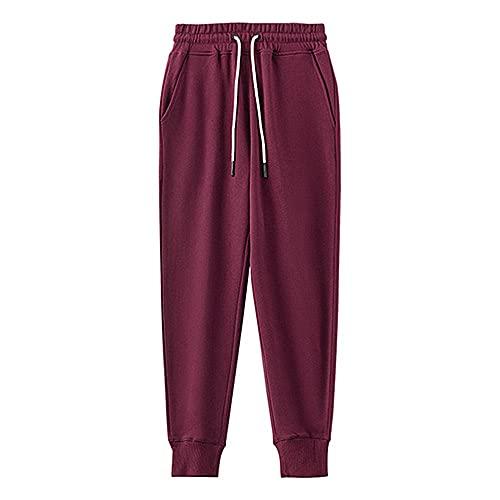 N\P Pantalones deportivos de algodón retro con cordón para hombre