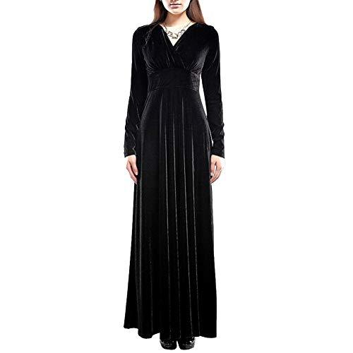 Discountstore145 Vestidos para mujer, otoño, invierno, elegante, color sólido, plisado, cuello en V, manga larga, ajustado, grande, vestido de banquete, cóctel, fiesta, noche, negro, L