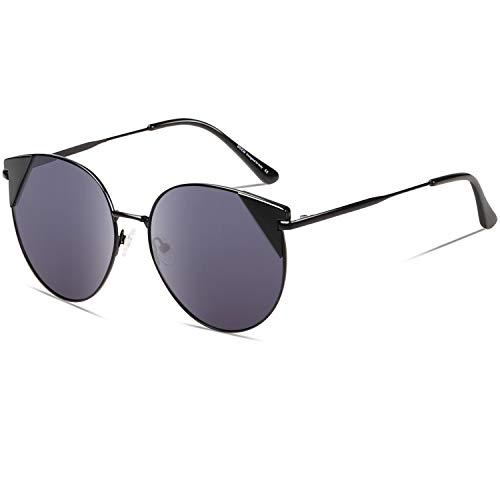 DUCO Vintage Katzenauge Polarisierte Retro Sonnenbrille für Frauen UV-Schutz W018 (Schwarz)