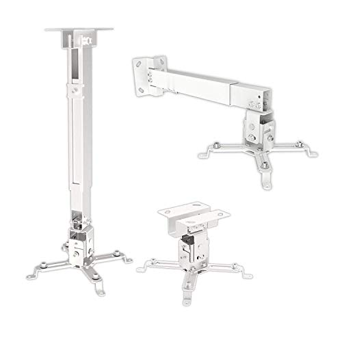 MYL Heavy Duty - 3Feet Projector Ceiling Mount Stand Bracket (2ft+1ft - White - Weight Capacity : 15 Kgs) (2ft+1ft)