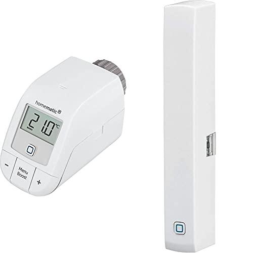 Homematic IP Smart Home Heizkörperthemostat – Basic, Push-to-Pair, 153412A0 & Smart Home Fenster- und Türkontakt, optisch – Smarte Überwachung der Fenster, 140733A0