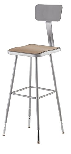 NPS 32'-39' Height Adjustable Heavy Duty Square Seat Steel Stool with Backrest, Grey