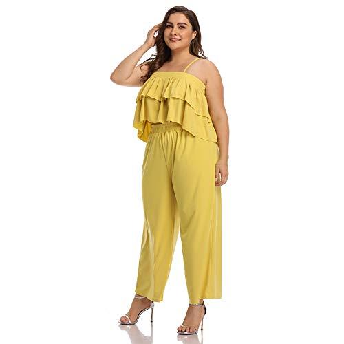 Dames Lange jurk, Plus size effen kleur sling korte top + wijde pijpen broek dames