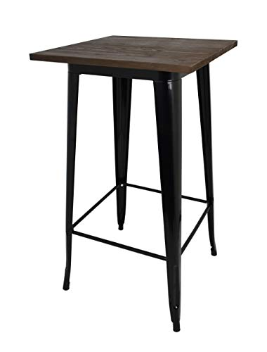 Die spanische Stuhl tólix Tisch mit Ständer, Edelstahl, Dunkelbraun, 53.50X 52X 73cm
