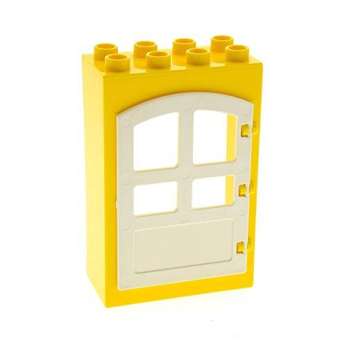 Bausteine gebraucht 1 x Lego Duplo Tür Rahmen gelb 2x4x5 Türblatt weiß Haus Gebäude klein 4644211 3102301 92094 31023