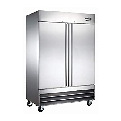 "Peak Cold 2 Door Commercial Stainless Steel Freezer, White Interior; 47 Cubic Ft, 54"" Wide"
