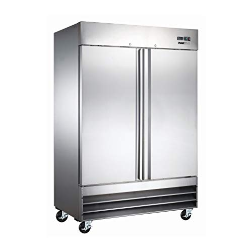 Peak Cold 2 Door Commercial Stainless Steel Freezer, White Interior; 47 Cubic Ft, 54