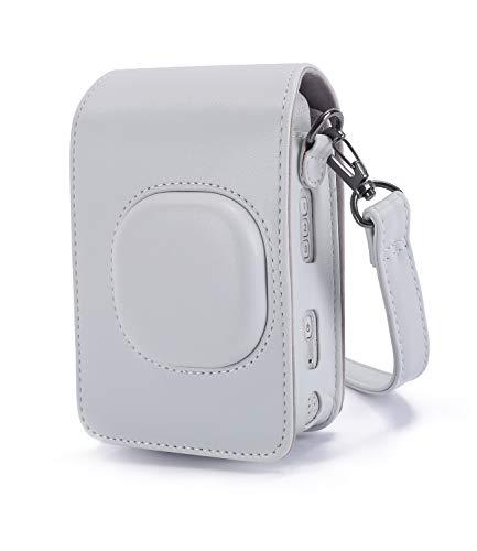 Phetium Custodia Protettiva Compatibile con Instax Mini LiPlay Fotocamera Ibrida Istantanea e Digitale, in Pelle Soft PU con cinturino a spalla (Bianco Fumoso)