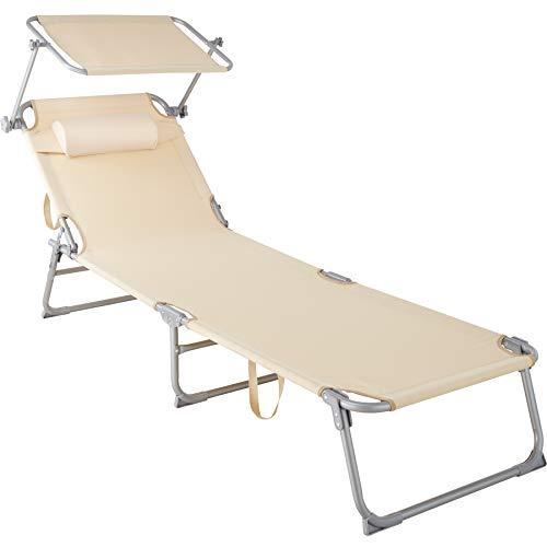 TecTake 800772 Sonnenliege mit Dach, klappbare Strandliege, Gartenliege mit Kopfkissen, Sonnendach verstellbar, Liegestuhl mit Verstellbarer Rückenlehne - Diverse Farben - (Beige | Nr. 403417)