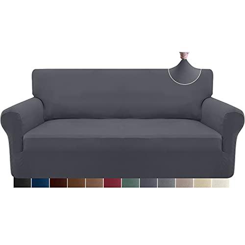 Granbest Strecken Sofabezug 3 Sitzer Superweich Elasthan Sofaüberwurf für Hunde Haustier Couchbezug Möbelschutz mit Elastischen Boden (3 Sitzer, Grau)