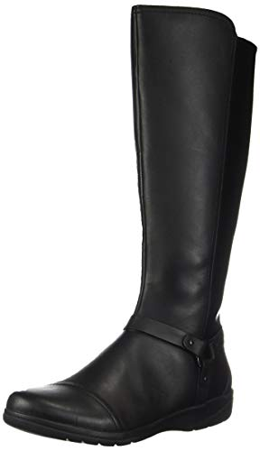 Clarks Womens Cheyn Lindie Knee High Boot, Black Leather/Synthetic Combi, 8.5 M US