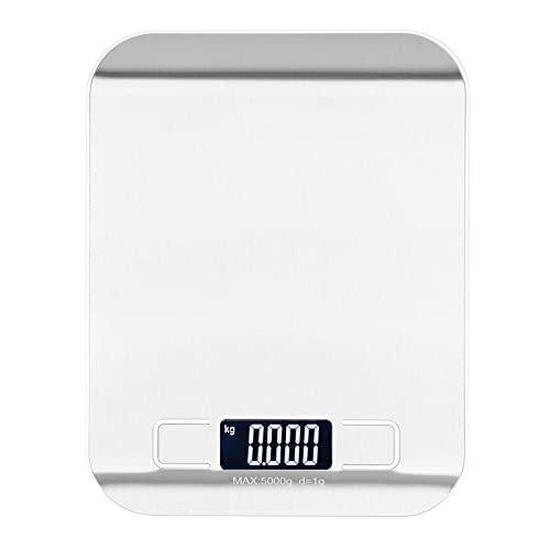 Báscula de cocina, báscula electrónica de acero inoxidable, báscula digital portátil para frutas y alimentos para el hogar con temporizador