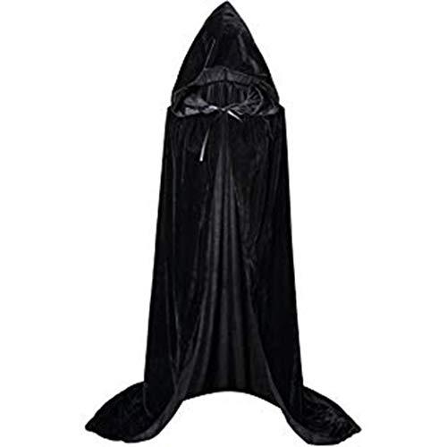 Realde Unisex Kapuzen Robe Umhang Ritter Fancy Cosplay Kostüm mit Kapuze Lange Samt Cape für Halloween Karneval Fasching Vampir Kostüm Vampir Zauberer für Damen Herren