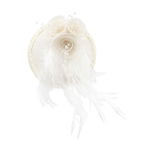 Colours & Beauty Tocado para el pelo de mujer blanco marfil, tocado de velo de malla y plumas | Broche para el pelo de mujer elegante | Gorro de mujer para ceremonias