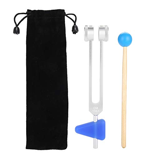Tenedor de afinación de 136,1 Hz, aleación de aluminio, juego de horquillas de energía de afinación para meditación y yoga con martillo, horquilla de sonido neurológico curativo para reparación de ADN