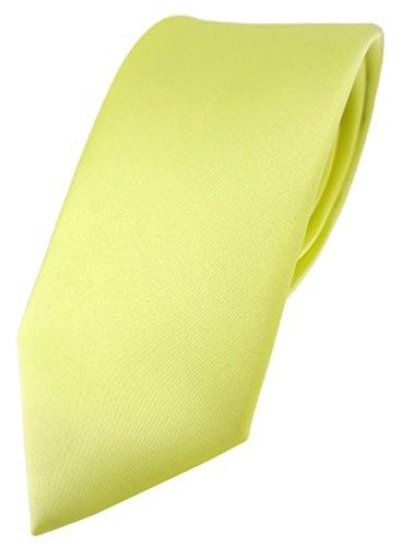 TigerTie Designer Krawatte in zitronengelb einfarbig Uni - Tie Schlips