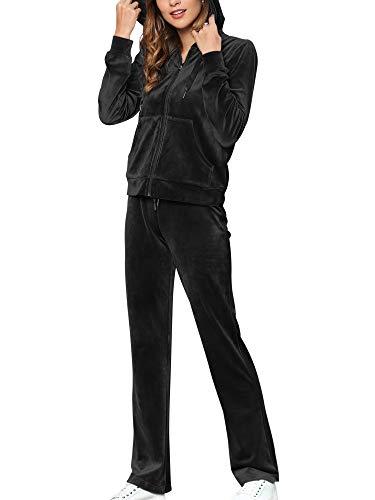 MessBebe - Conjunto de chándal para mujer de terciopelo para el tiempo libre, 2 piezas, chaqueta con capucha, manga larga y cremallera Negro S