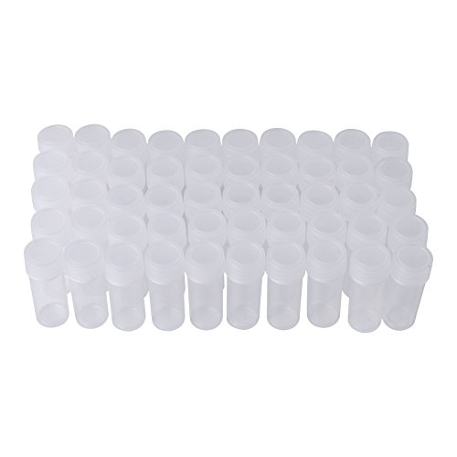 50 Stks 5ml Volume Plastic Duidelijke Lege Sample Flessen Goede Afdichting Kleine Flesflacon Opslag Container voor het laden Plakken Solid Powder Pills Zaden en Granular Objects