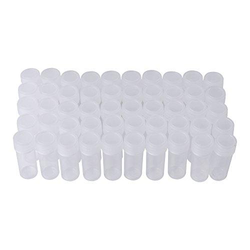 Botellas de Muestras de Plástico 5ml Botella Transparente Pequeña Tubos de Ensado Botellas de Separado 50pcs