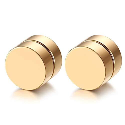 Pendientes de tuerca falsos para hombre y mujer, de acero inoxidable, de 6 a 12 mm, con cierre magnético y sin perforación, color dorado, 12 mm