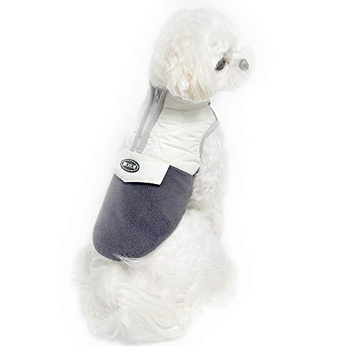 Dociote Hundemantel Winter mit Bauchschutz Winterjacke Wintermantel Fleece gefüttert für kleine Hunde Grau L