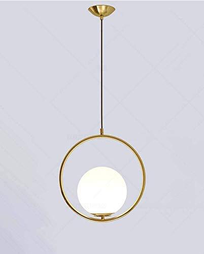 Moderno e minimalista circolare anello lampadario soggiorno ingresso luce pendente personalità lampadari in vetro palla (nero, oro) (Color : Gold) [Classe di efficienza energetica A]