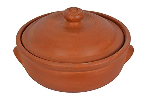 Village Decor Earthen Clay Cooking Bowl With Lid (2.6 Qt)