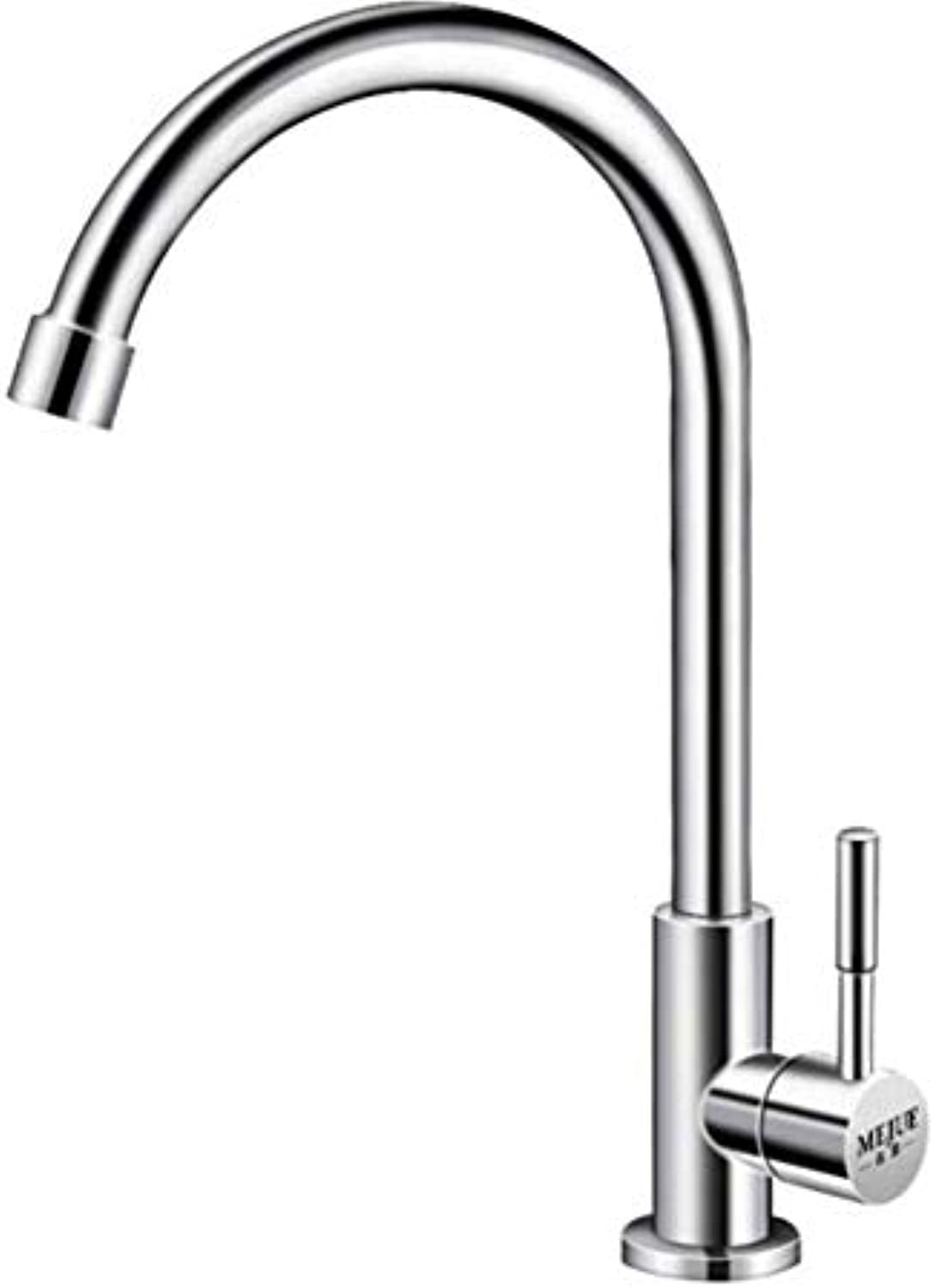Single Handle Kitchen Sink Faucetarchlead-Free 304 Stainless Steel Kitchen Single Cold Faucet Sink Sink Sink Faucet