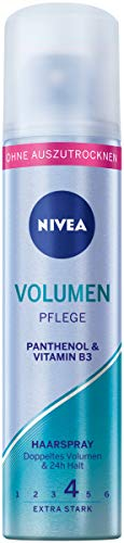 NIVEA Volumen Pflege Haarspray Extra Stark Mini (75 ml), pflegendes Styling Spray mit Panthenol & Vitamin B3, Haarspray für flexible Stylings mit 24h Halt