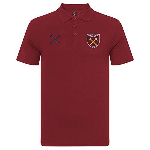 West Ham United FC Polo Oficial Para Hombre - con el Escudo del Club - Granate - M