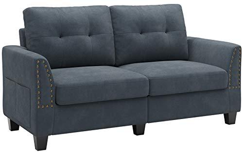Belffin 2 Seater Sofa Small Sofa 2 Seater Fabric Two Seater Sofa Bluish Grey