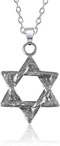 Yiffshunl Collar Mujer Religiosa Punk Collar Hexagrama Collar de Acero Inoxidable para Hombres Mujeres Unisex Joyería hindú Símbolo Collares Pendientes Joyería de la Estrella de David
