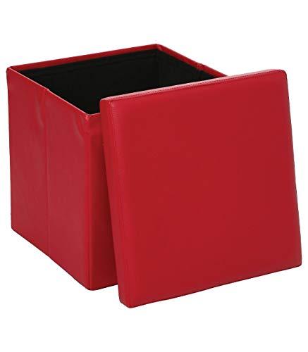 Pouf carré rouge - Coffre de rangement pliable