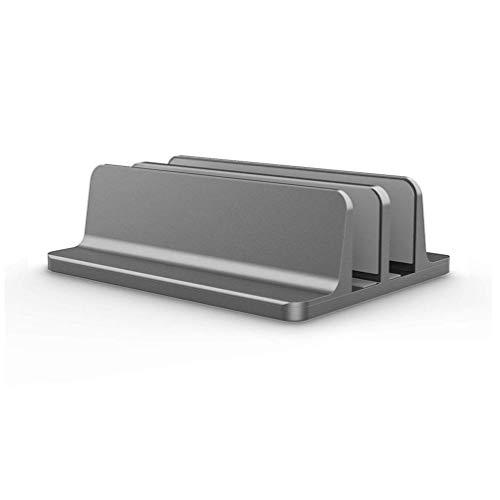 fawox Robuster vertikaler Laptopständer für Macbook Air Pro Desktop Doppel-Desktop-Ständerhalter mit verstellbarem Dock grau