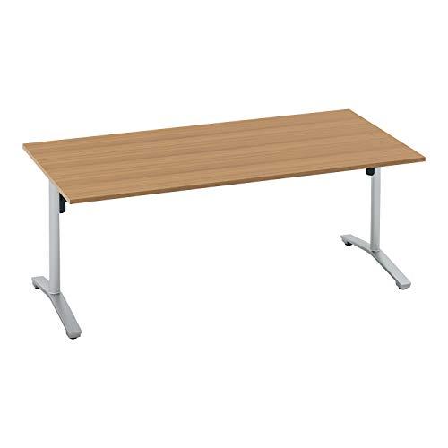 コクヨ ミーティングテーブル ビエナ 天板固定 角形 T字脚 塗装脚 配線ボックスなし 幅180×奥行90cm キャスター仕様 ラスティックミディアム/フラットシルバー