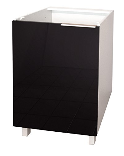Berlioz Creations CP6BN Eintüriger Küchenschrank Hochglanz Schwarz 60 x 52 x 83 cm
